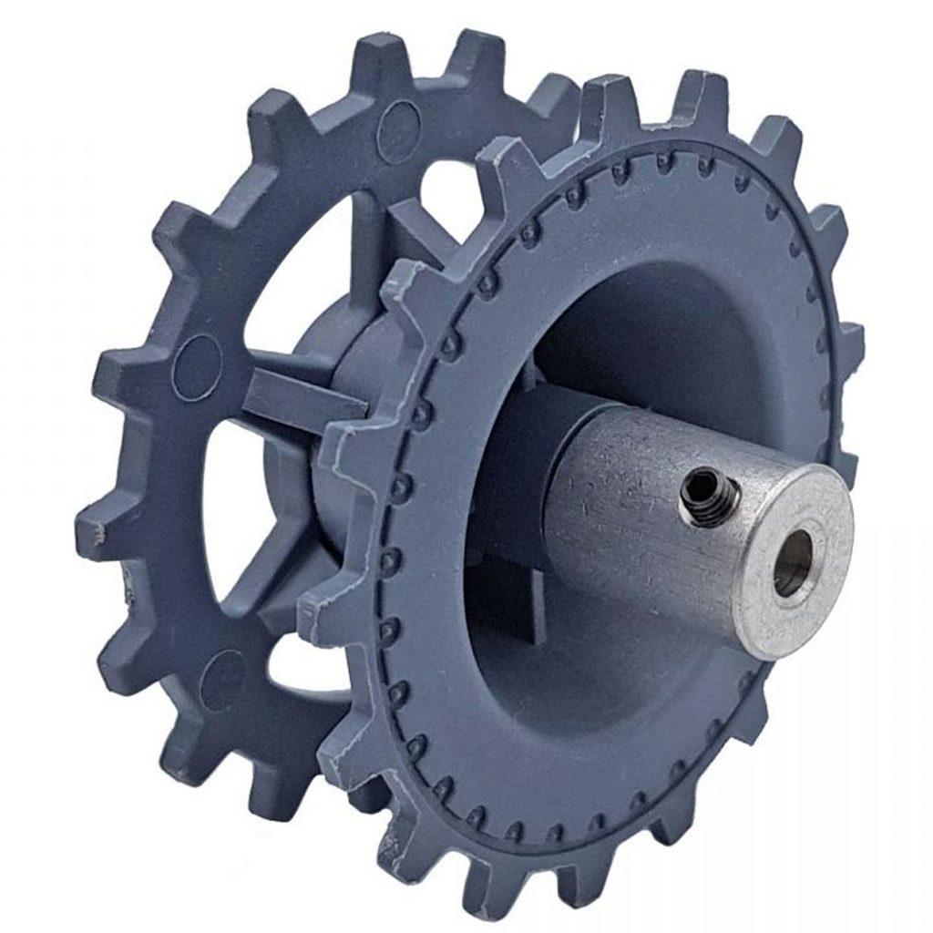 Khớp nối đã lắp vào bánh lái, bánh chủ động xe tăng trục 4mm