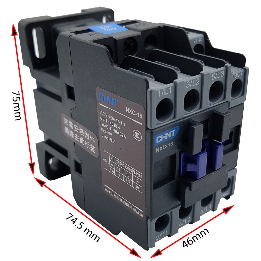 Kích thước của Contactor CHINT NXC-18 18A 7.5kW
