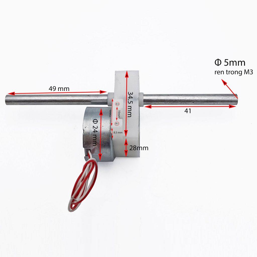 Kích thước của Động cơ giảm tốc 300 trục đôi chạy pin năng lượng mặt trời 10rpm