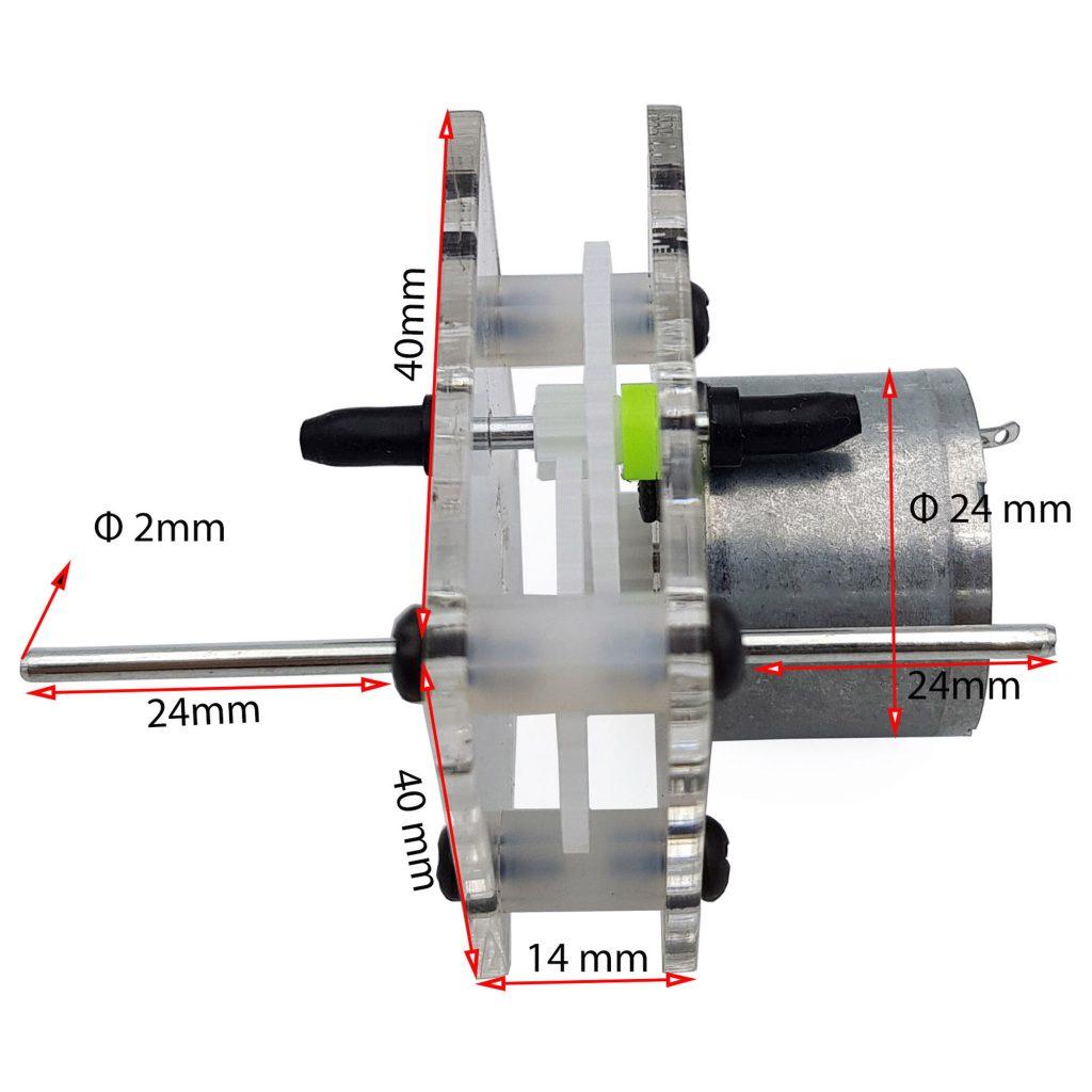 Kích thước của Động cơ giảm tốc 310 chạy pin năng lượng mặt trời 400rpm