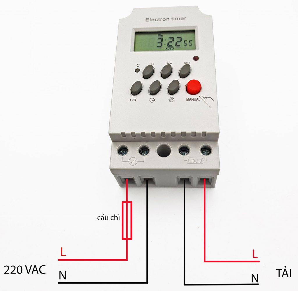 Sơ đồ đấu nối Timer hẹn giờ kỹ thuật số KG316T-II 25A 220V
