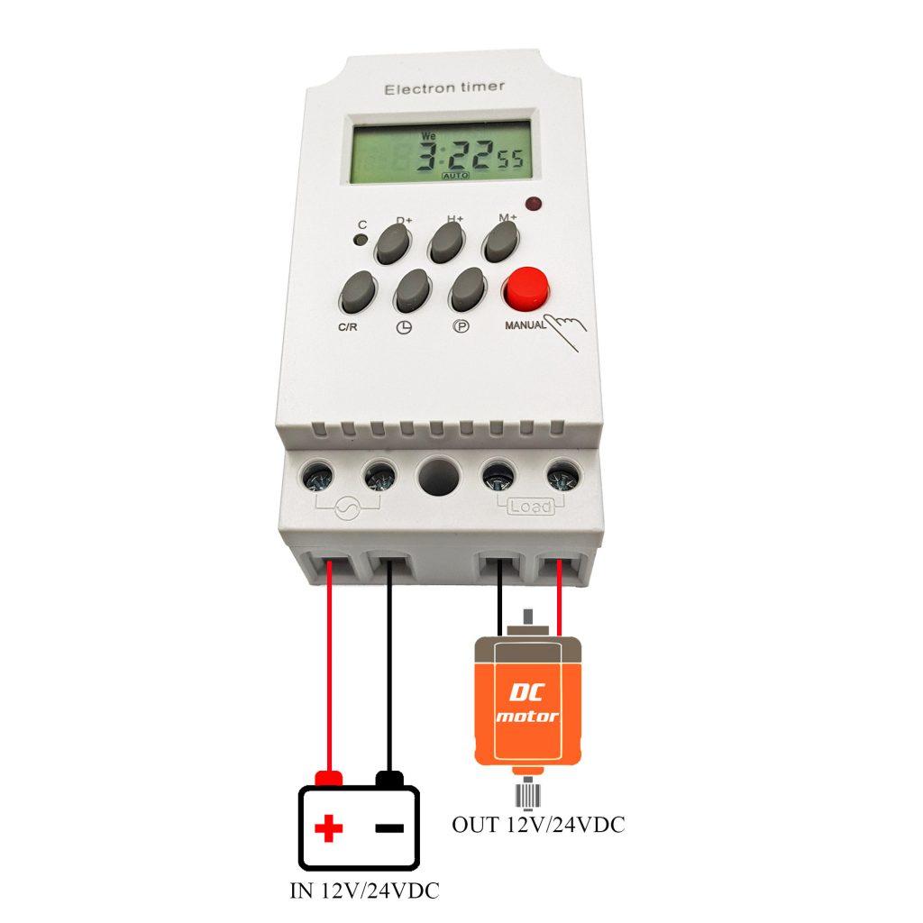 Sơ đồ đấu nối Timer hẹn giờ kỹ thuật số KG316T-II 25A 12V/24V