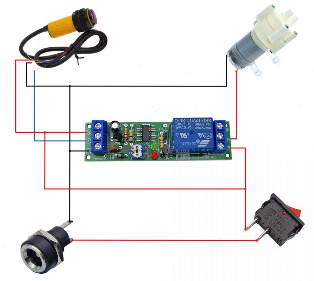 Sơ đồ kết nối Combo tự chế máy rửa tay tự động 12VDC