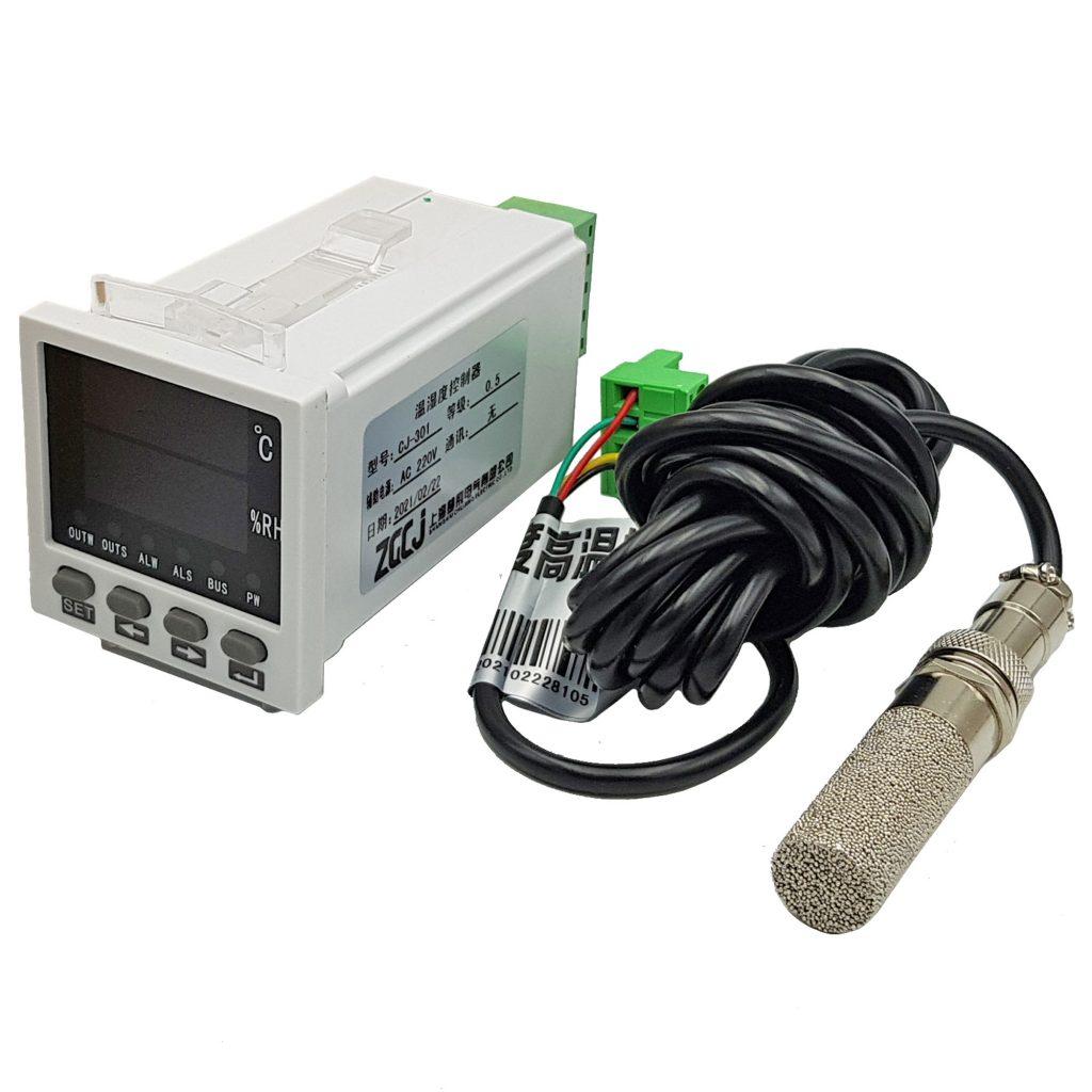 Bộ khống chế điều khiển nhiệt độ và độ ẩm CJ-301 với cảm biến vỏ bọc kim loại