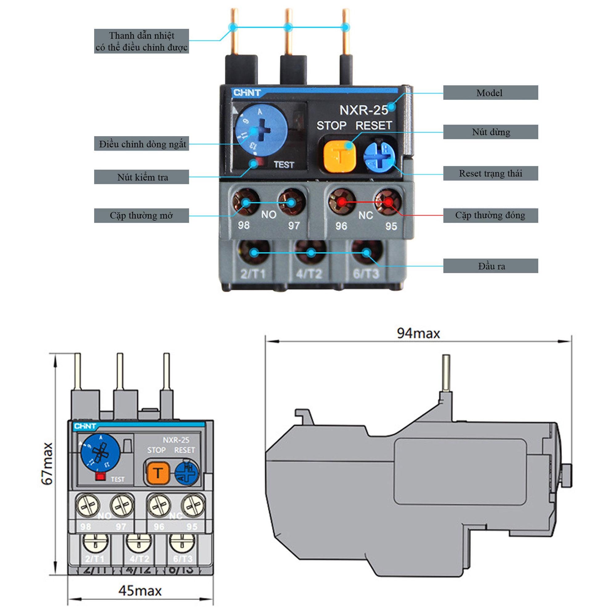 Kích thước Relay nhiệt CHINT NXR-25 Cho Contactor NXC