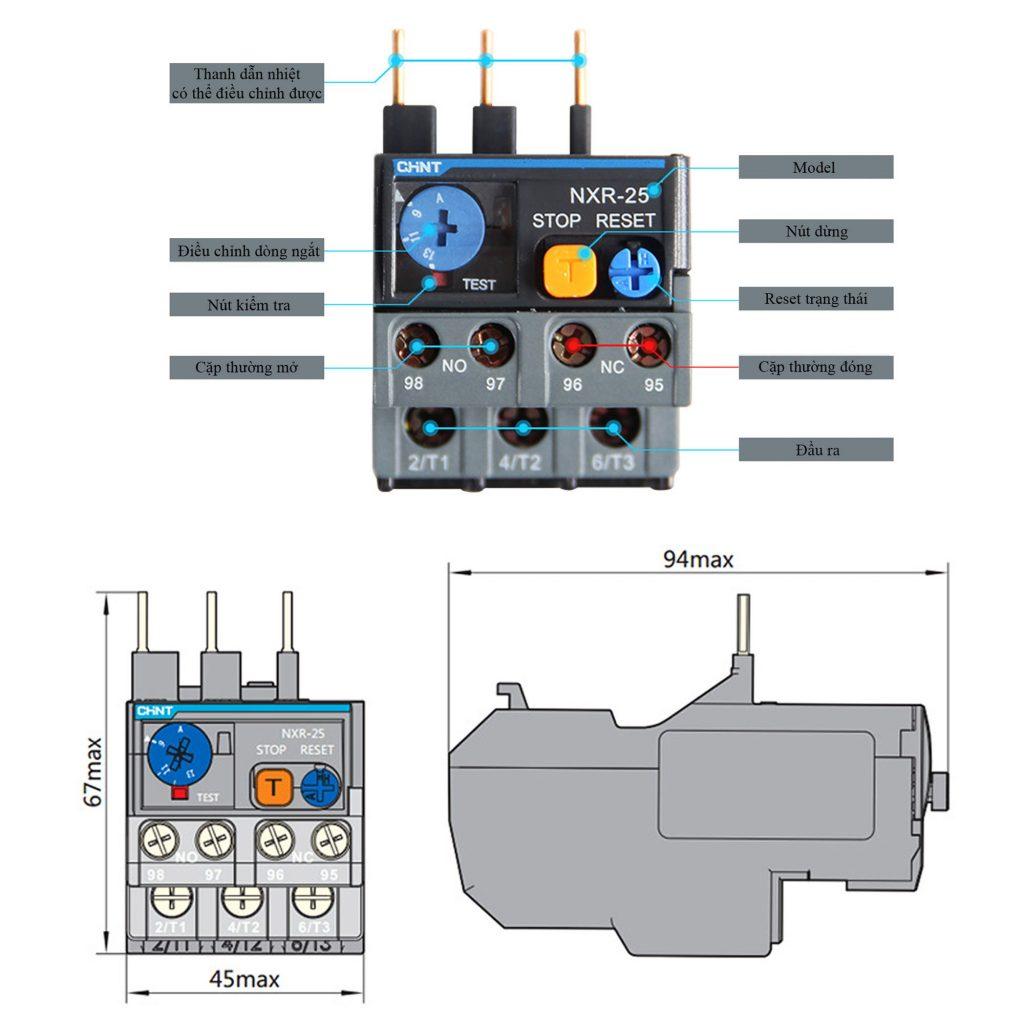 Kích thước của Relay nhiệt CHINT NXR-25 9A-13A cho Contactor NXC