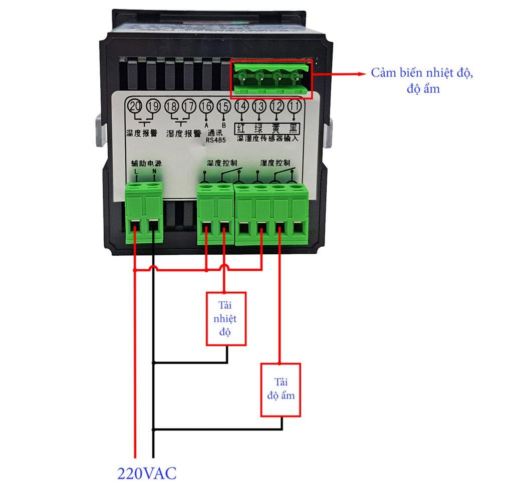 Sơ đồ đấu nối Bộ khống chế điều khiển nhiệt độ và độ ẩm CJ-602 với cảm biến chống ẩm IP55