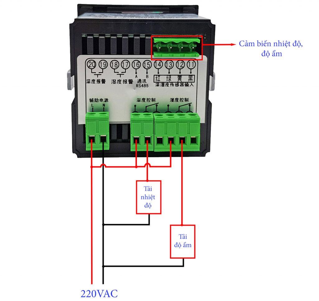 Sơ đồ đấu nối Bộ khống chế điều khiển nhiệt độ và độ ẩm CJ-602 với cảm biến vỏ bọc kim loại