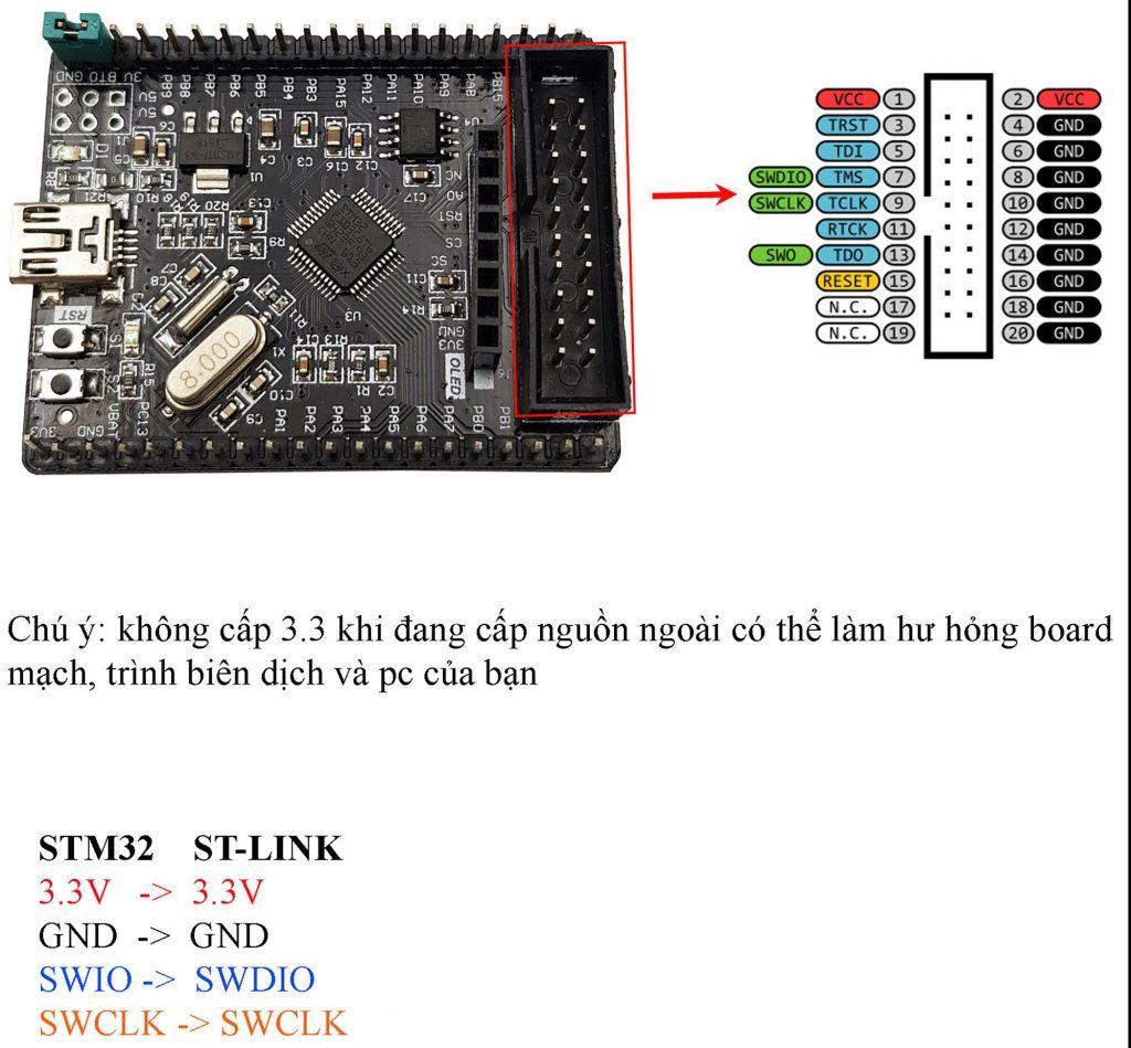 Sơ đồ đấu nối Development Board ARM STM32F103C8T6 V2