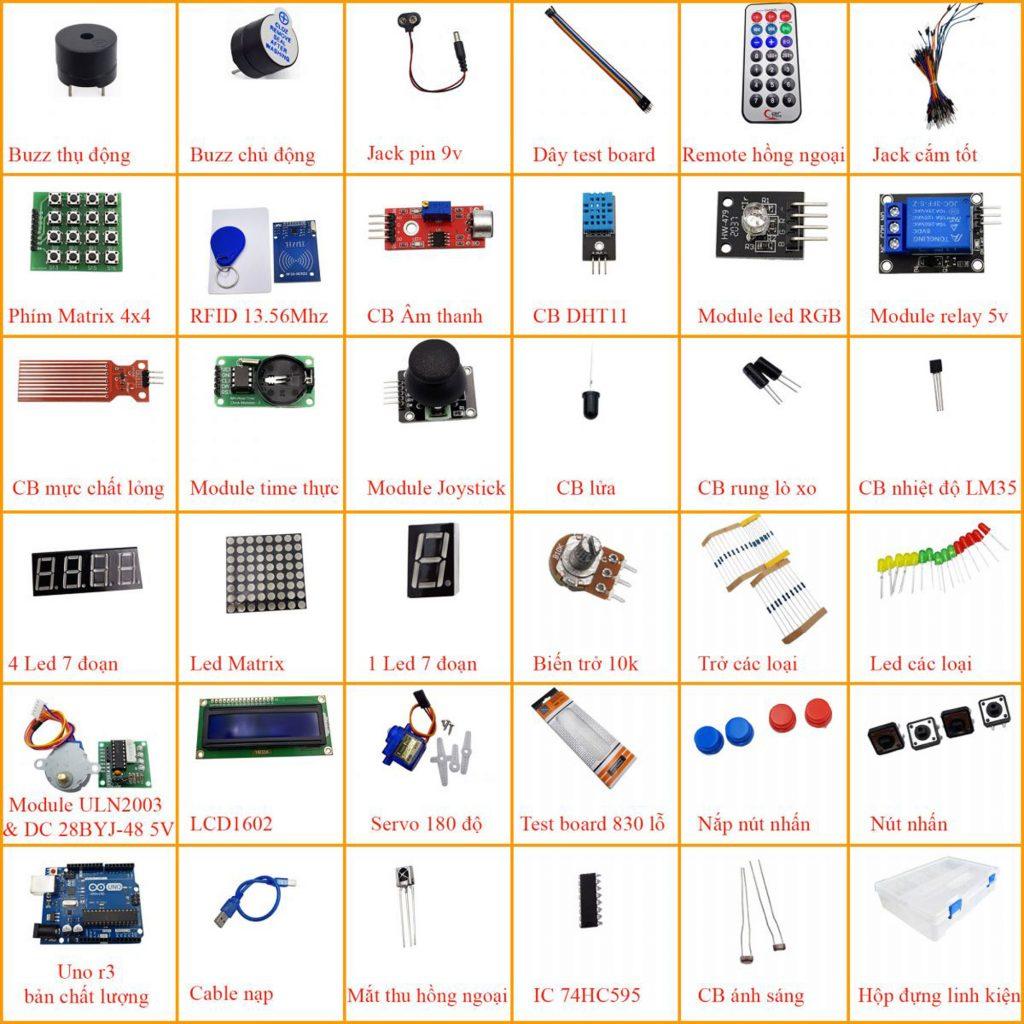 Bảng tra cứu thành phần có trong UNO R3 Advanced Kit, Bộ Arduino nâng cấp