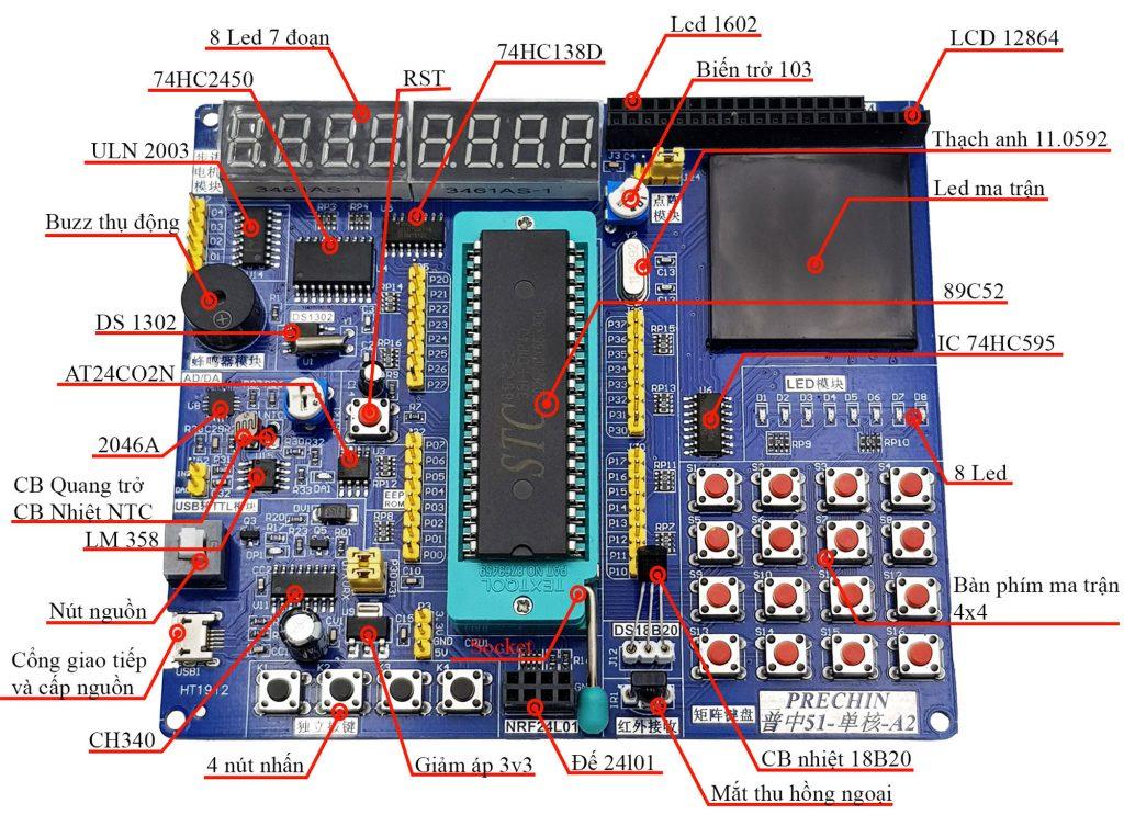 Chú thích thành phần có trong Kit Học Tập Phát Triển 8051 đa chức năng