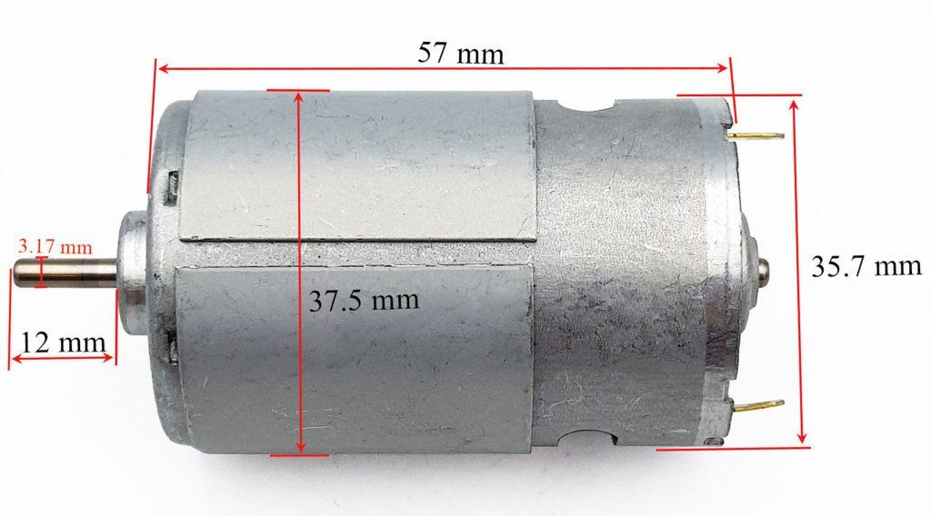 Kích thước của Động cơ 545 12-24VDC