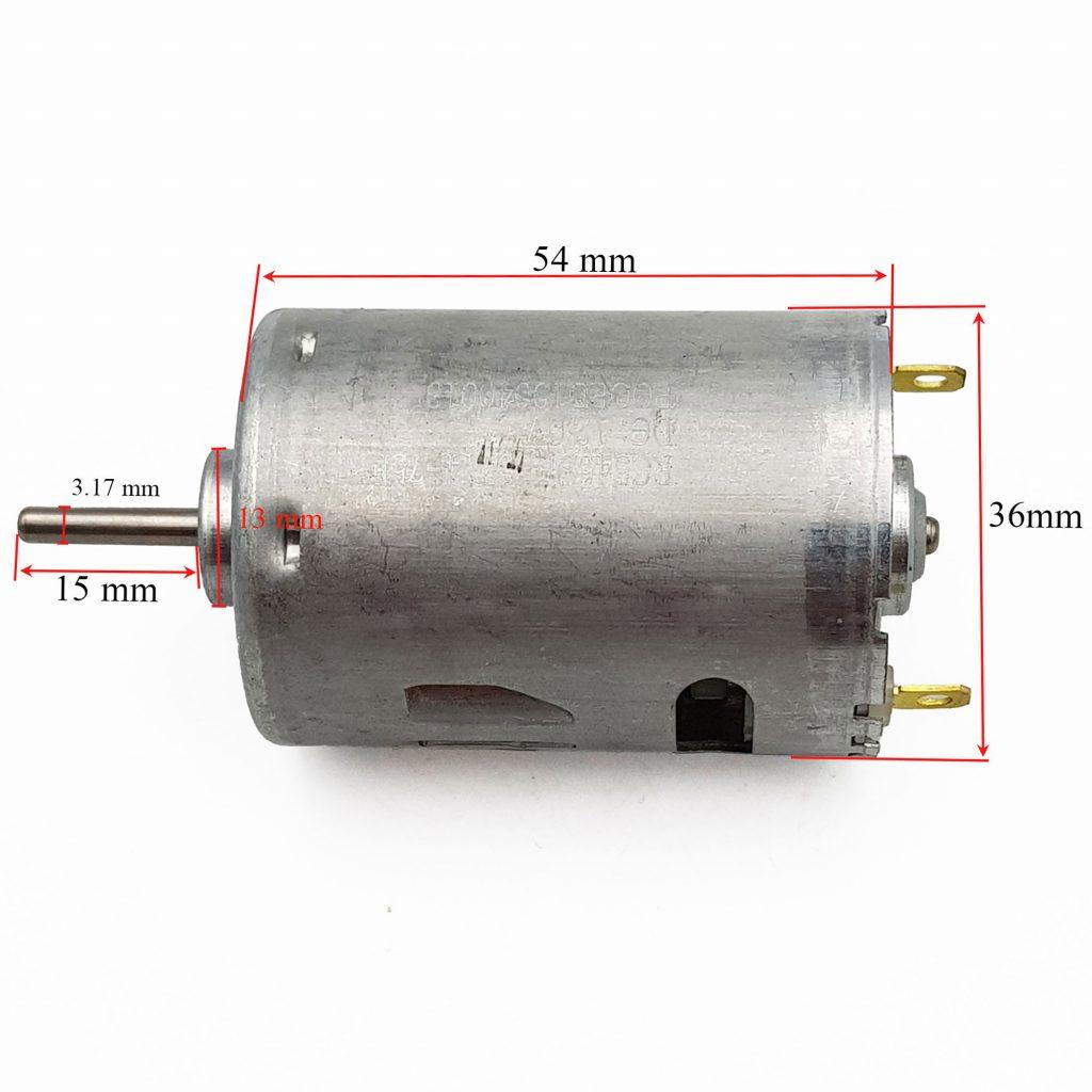 Kích thước của Động cơ RC545SH 12VDC tốc độ cao