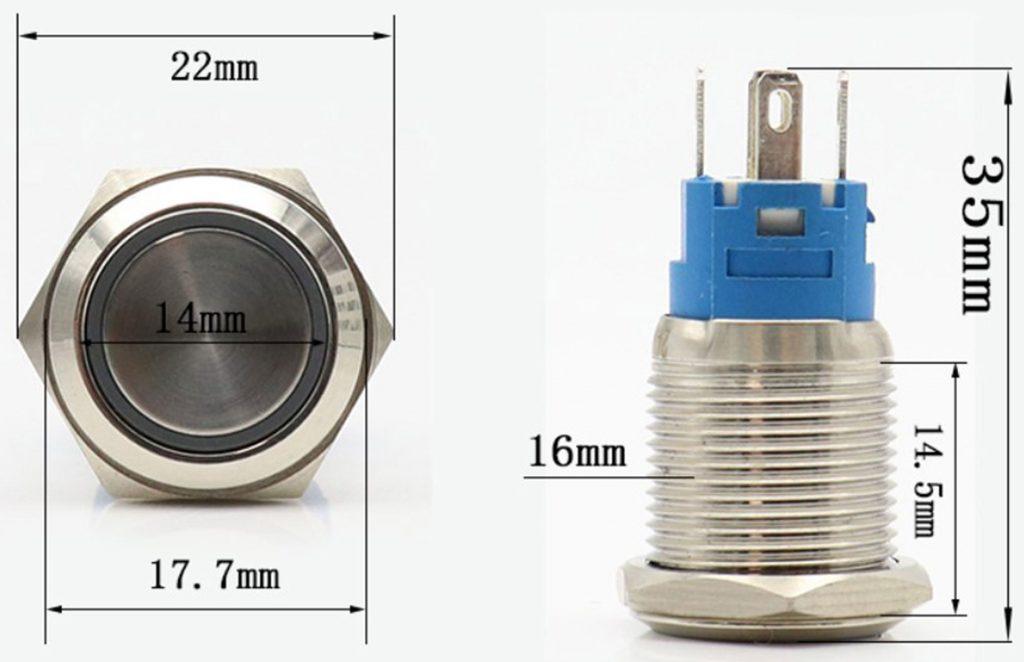 Kích thước của Nút nhấn nhả kim loại mặt lồi 16mm màu xanh lá / màu đỏ