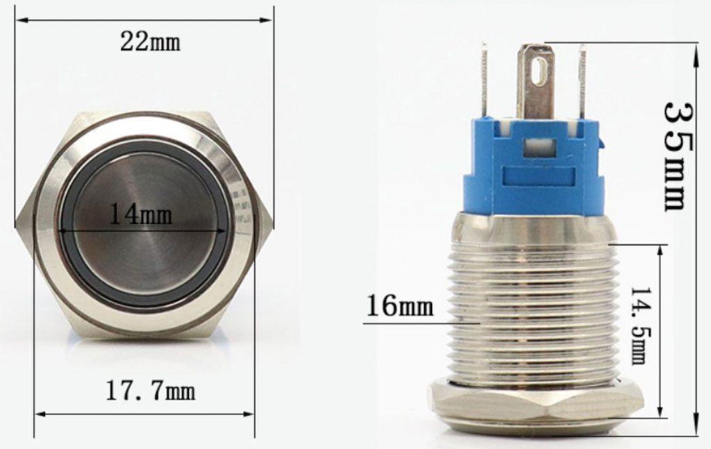 Kích thước của Nút nhấn tự giữ kim loại mặt lồi 16mm màu đỏ / màu xanh lá