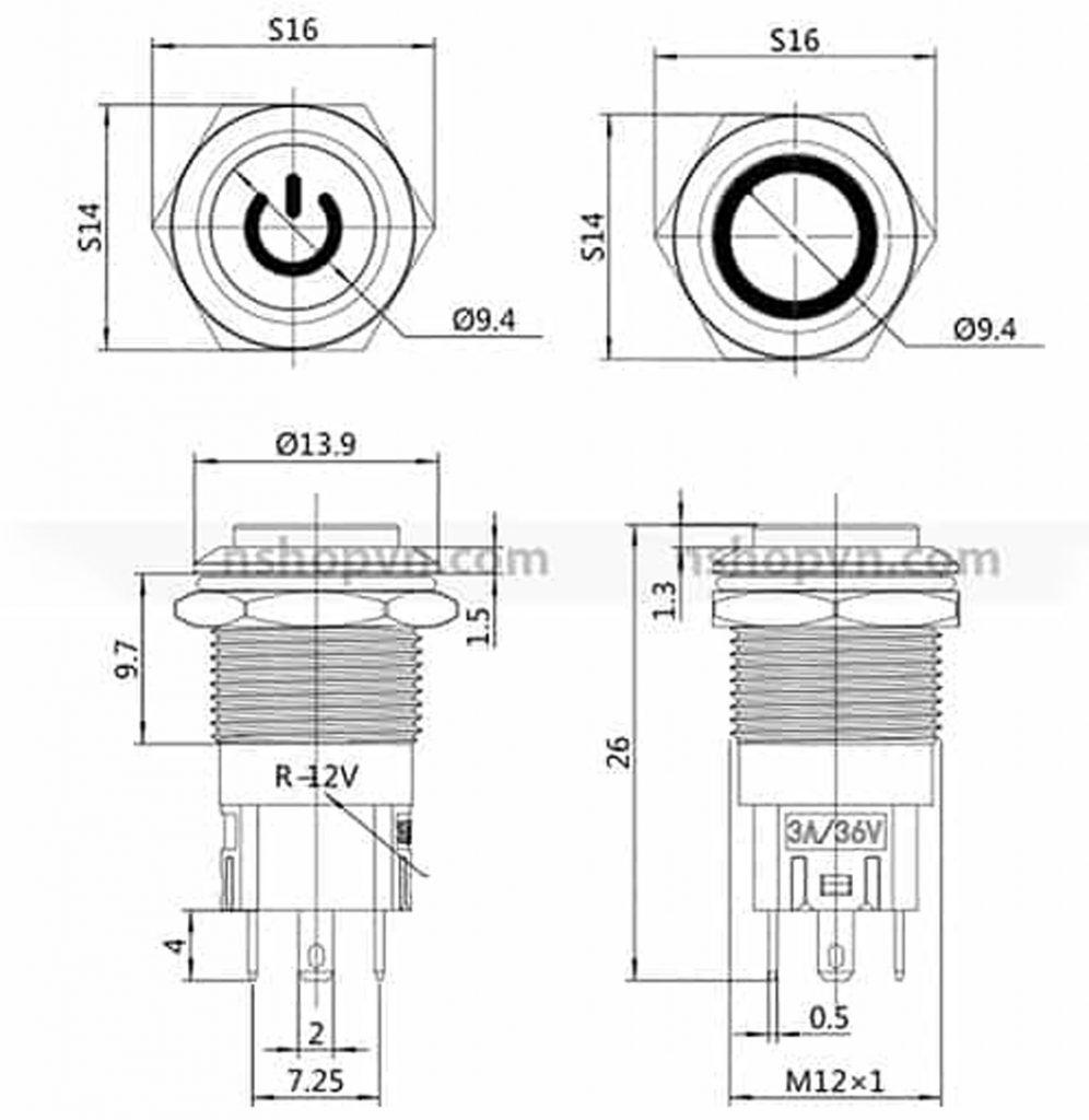 Kích thước Nút nhấn tự giữ kim loại 12mm trắng