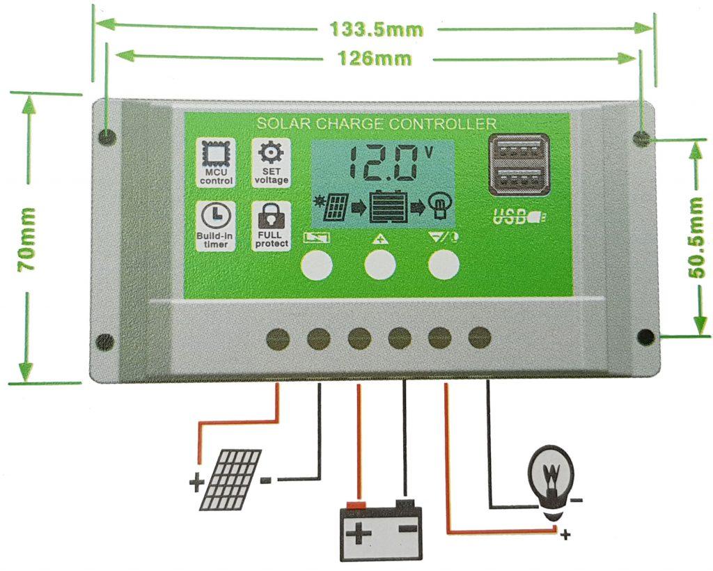 Kích thước và sơ đồ kết nối của Bộ điều khiển sạc pin năng lượng mặt trời 30A