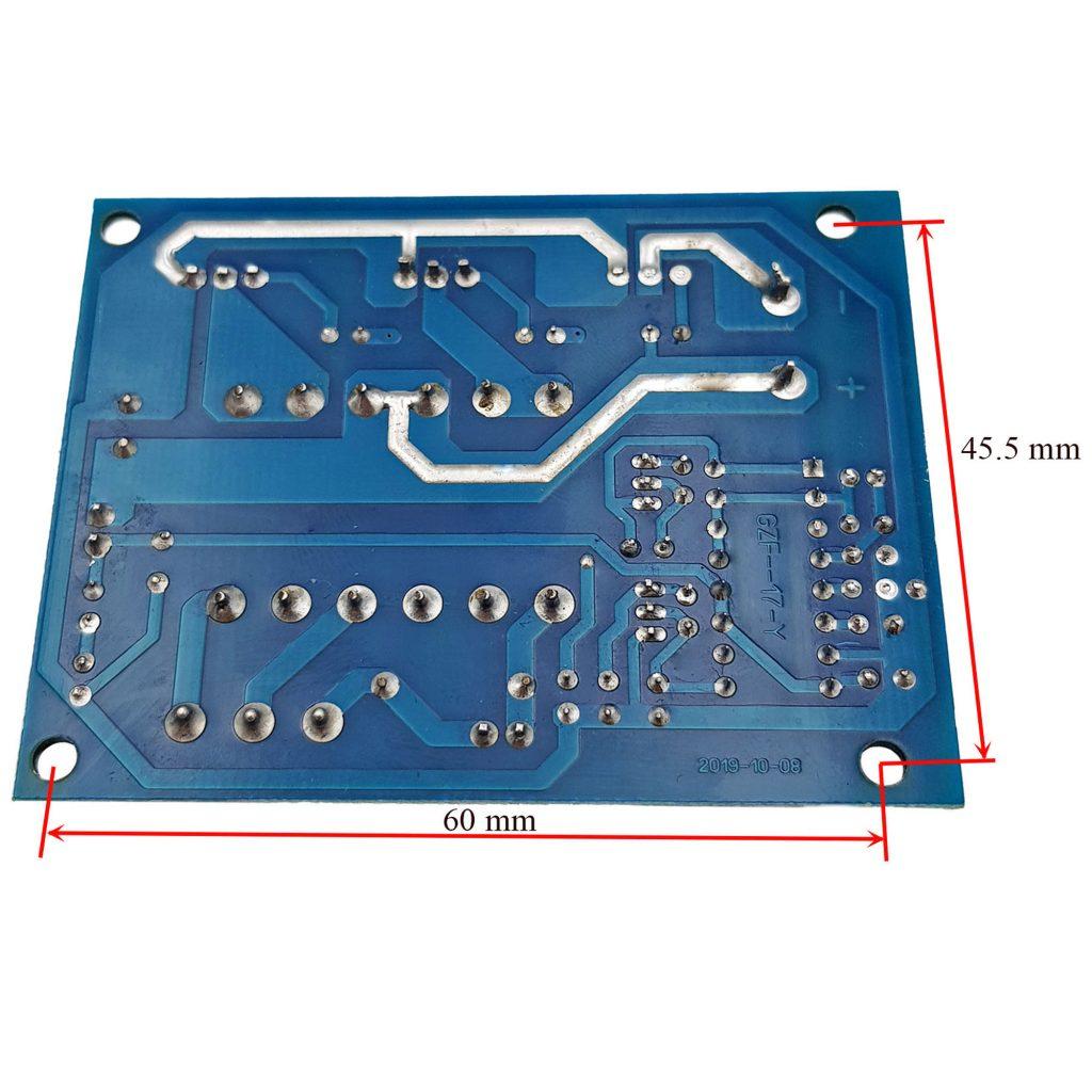 Kích thước Mạch Inveter 12VDC ra 110V, 220VAC Sóng Vuông 15KHz