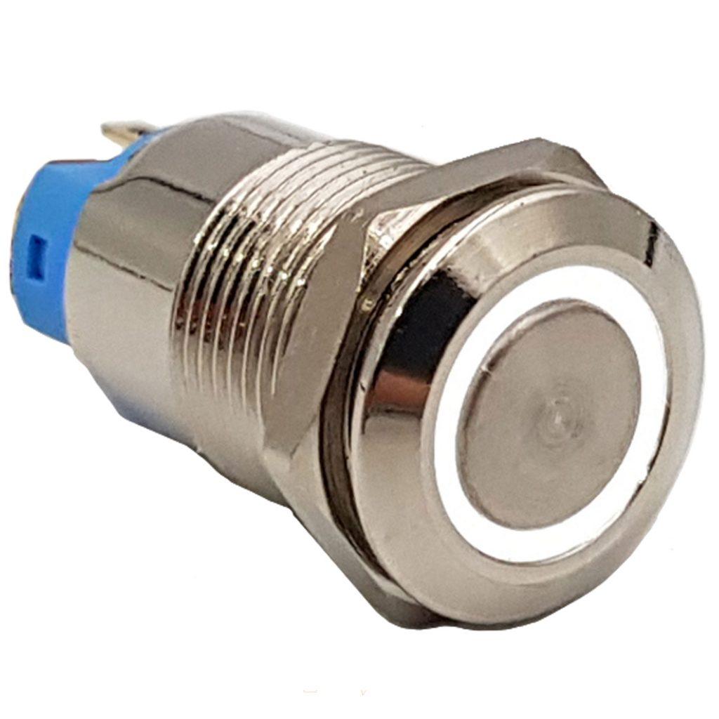 Nút nhấn tự giữ kim loại 12mm trắng