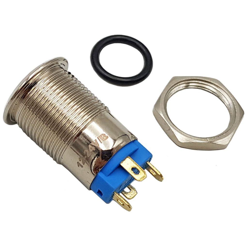 Nút nhấn tự giữ kim loại 12mm xanh dương