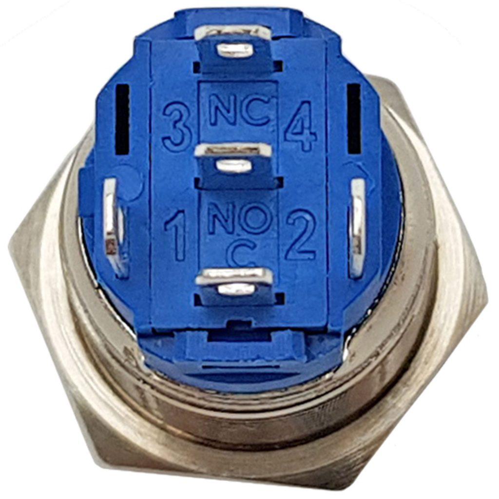 Nút nhấn tự giữ kim loại mặt lồi 16mm màu đỏ / màu xanh lá