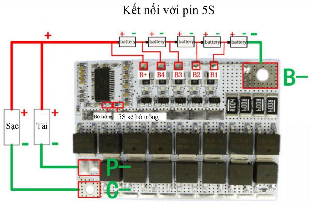 Sơ đồ đấu nối của Mạch Bảo Vệ Pin Lithium Iron Phosphate Tùy Chỉnh 3S 4S 5S 100A