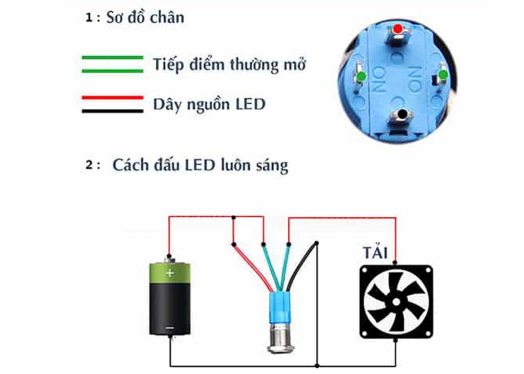Sơ đồ đấu nối Nút nhấn tự giữ kim loại 12mm xanh dương