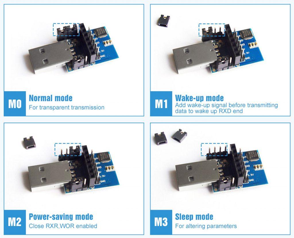 Các chế độ hoạt động của Mạch chuyển đổi USB sang TTL E15-USB-T2 CP2102