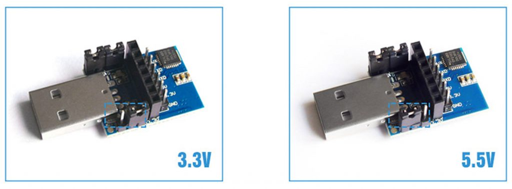 Cài đặt điện áp cho Mạch chuyển đổi USB sang TTL E15-USB-T2 CP2102