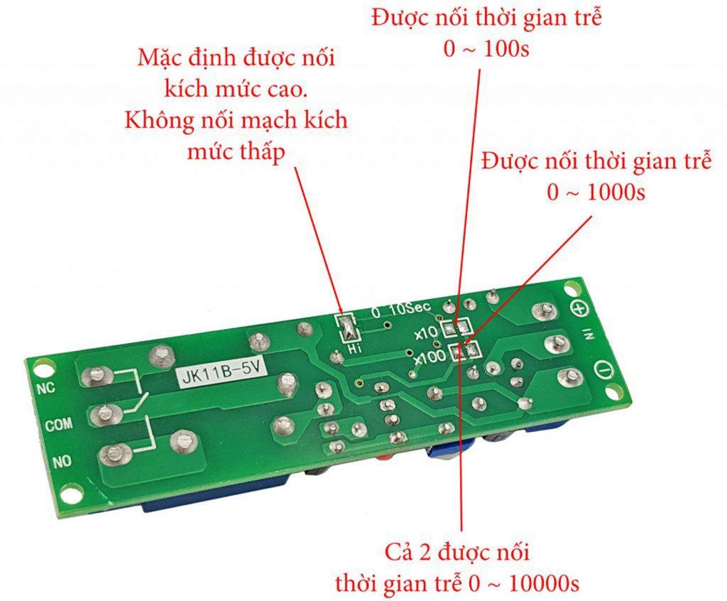 Hướng dẫn đối nối Module tạo trễ 0-10000s JK11B 5VDC trong Combo tự chế bộ phát âm thanh tự động V1