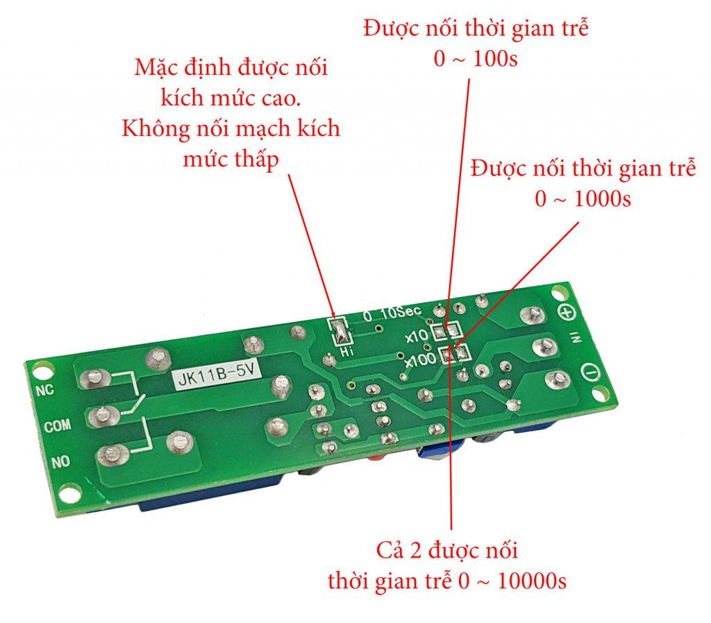 Hướng dẫn đối nối Module tạo trễ 0-10000s JK11B 5VDC trong Combo tự chế bộ phát âm thanh tự động V2