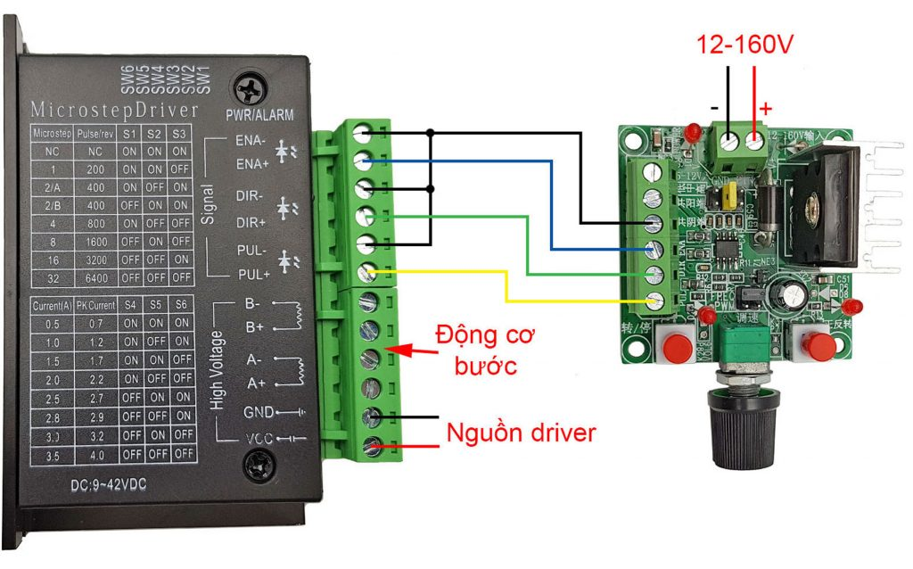 Kết nối kiểu âm chung Mạch tạo xung điều khiển driver động cơ bước 2SC5200
