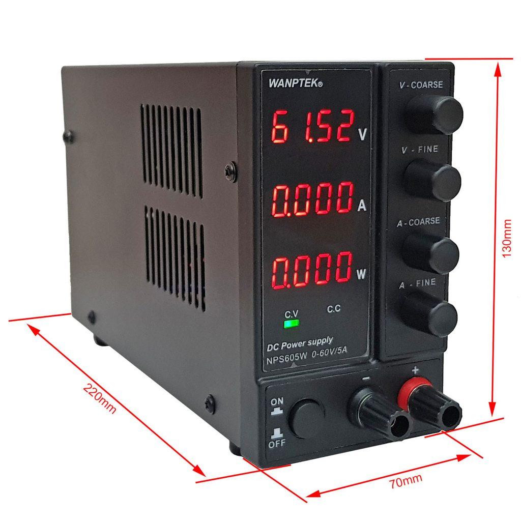 Kích thước Bộ nguồn đa năng WANPTEK NPS605W 60V 5A