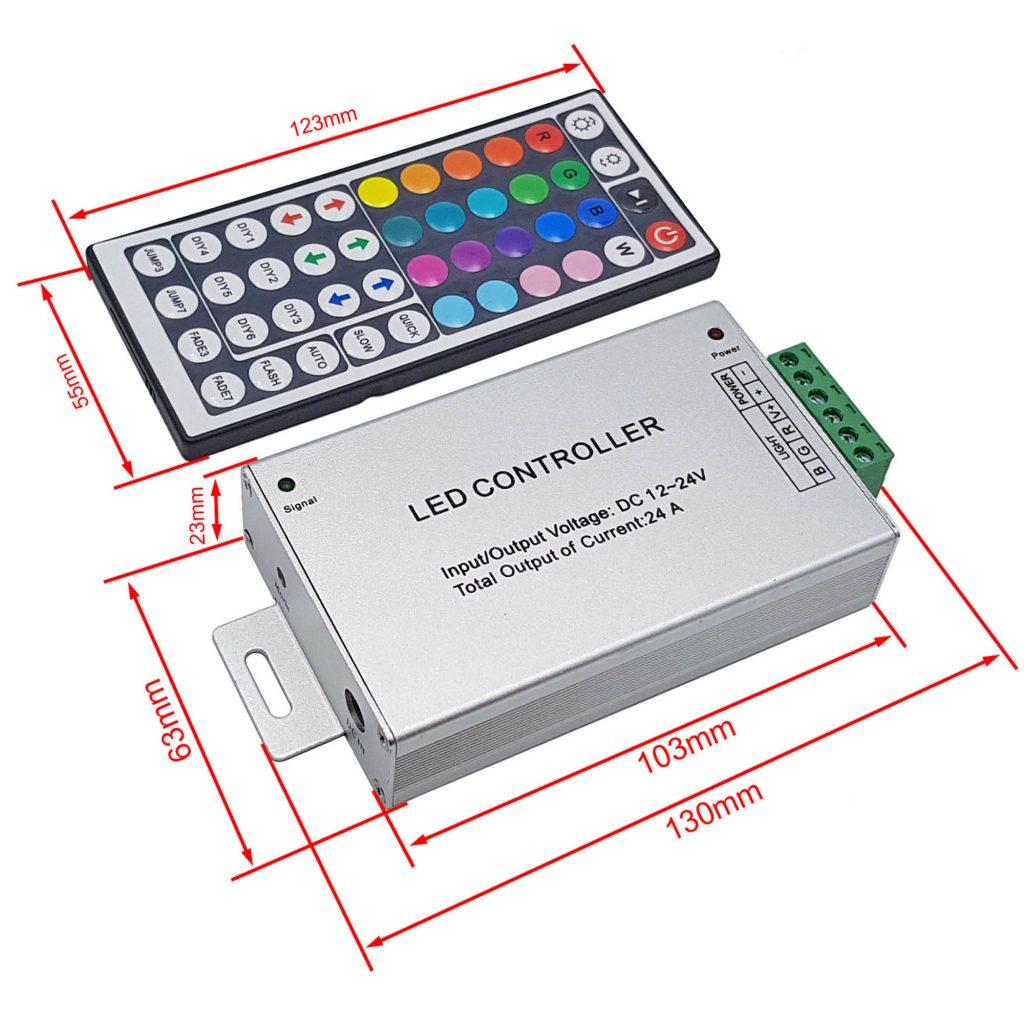 Kích thước của Bộ điều khiển Led Rgb Controller 12-24V 24A + Remote 44 phím