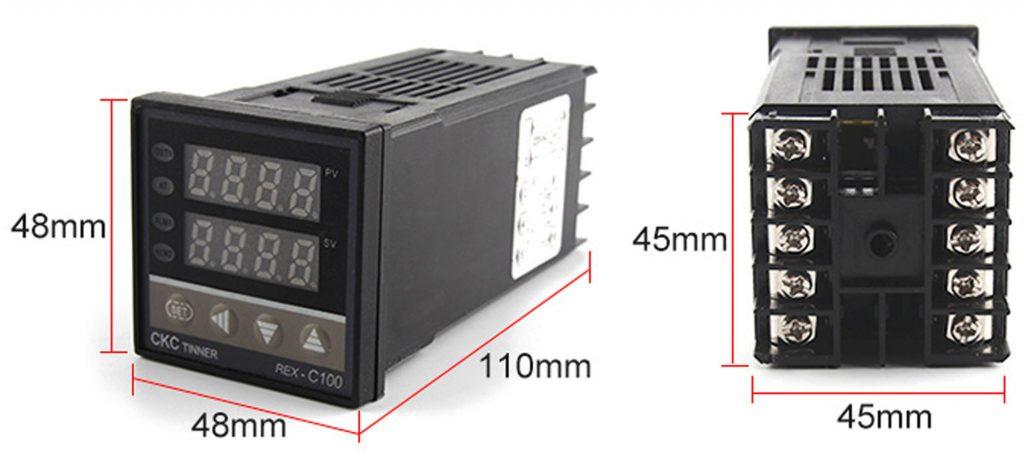 Kích thước của Bộ khống chế nhiệt độ 400 độ REX-C100 output SSR