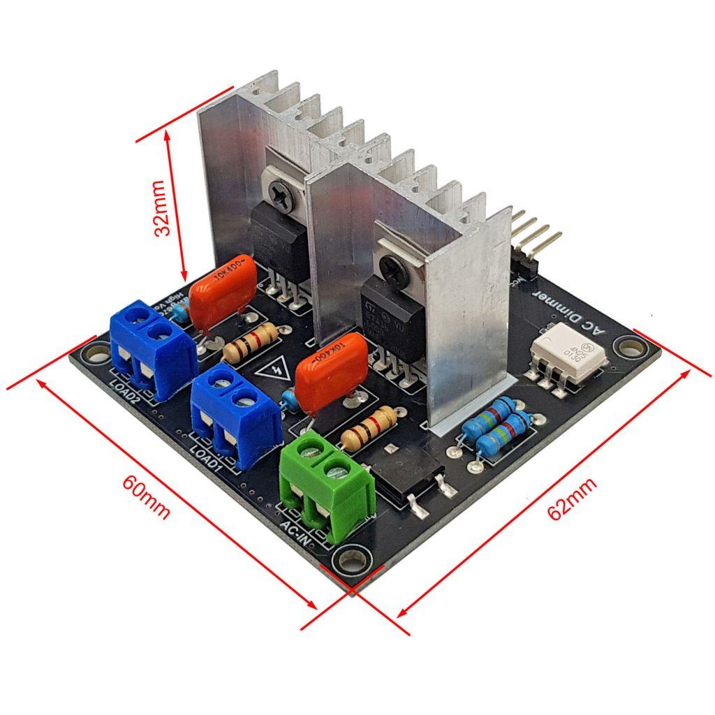 Kích thước của Module dimmer AC 8A 2 kênh