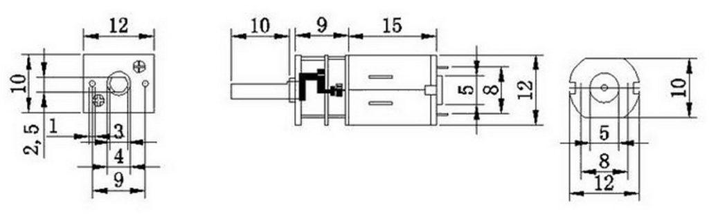 Kích thước Động cơ giảm tốc GA12-N20 3000 rpm