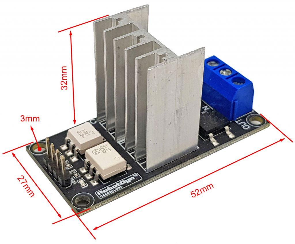 Kích thước Module dimmer AC 8A 1 kênh