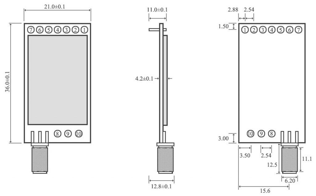 Kích thước Module RF SX1278 Lora E32-433T20DC1B 433Mhz 3000m