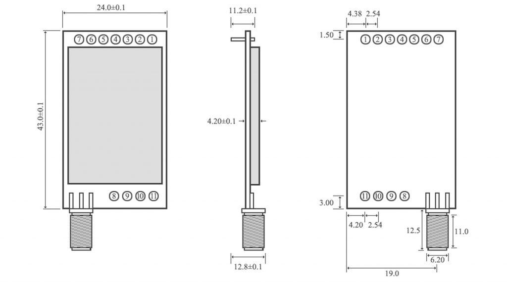 Kích thước Module RF SX1278 Lora E32-433T30D1B 433Mhz 8000m
