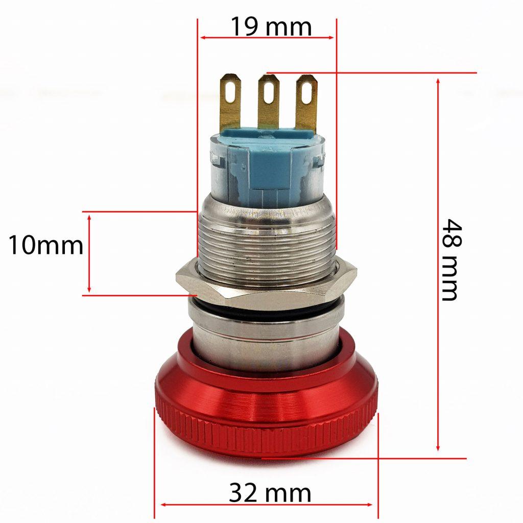 Kích thước Nút dừng khẩn cấp kim loại 19mm