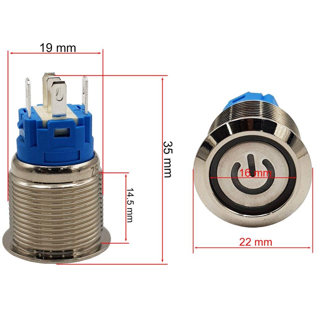 Kích thước Nút nguồn kim loại 19mm