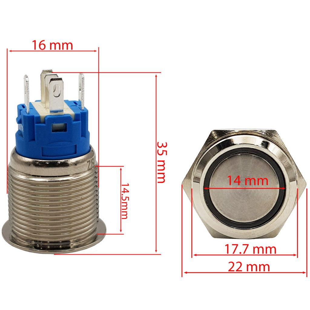 Kích thước Nút nhấn nhả kim loại mặt phẳng 16mm