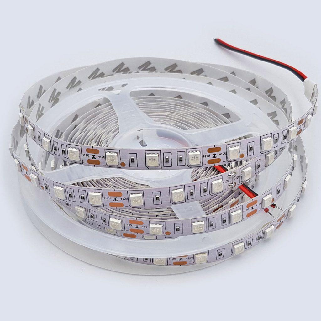 Led dây 5050 12V 1 mét 60 bóng không phủ epoxy màu xanh dương
