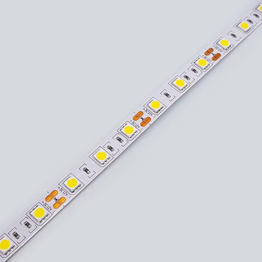 Led dây 5050 12V ánh sáng trắng 4000K 1 mét 60 bóng không phủ epoxy