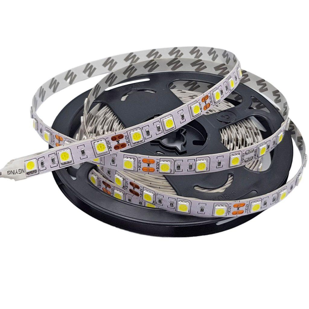Led dây 5050 12V ánh sáng trắng 6000K 1 mét 60 bóng không phủ epoxy