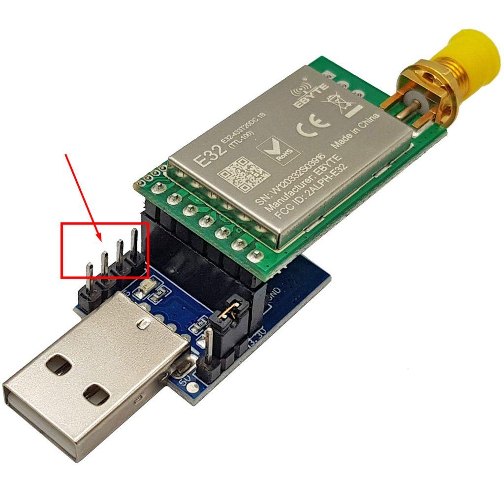 Nếu dùng module chuyển đổi usb sang TTL cho RF SX1278 thì tháo jump
