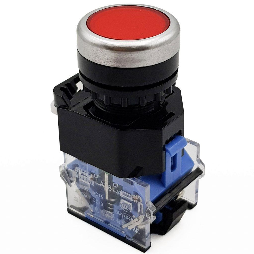 Nút nhấn nhả 2 tiếp điểm LA38-11BN 22mm màu đỏ