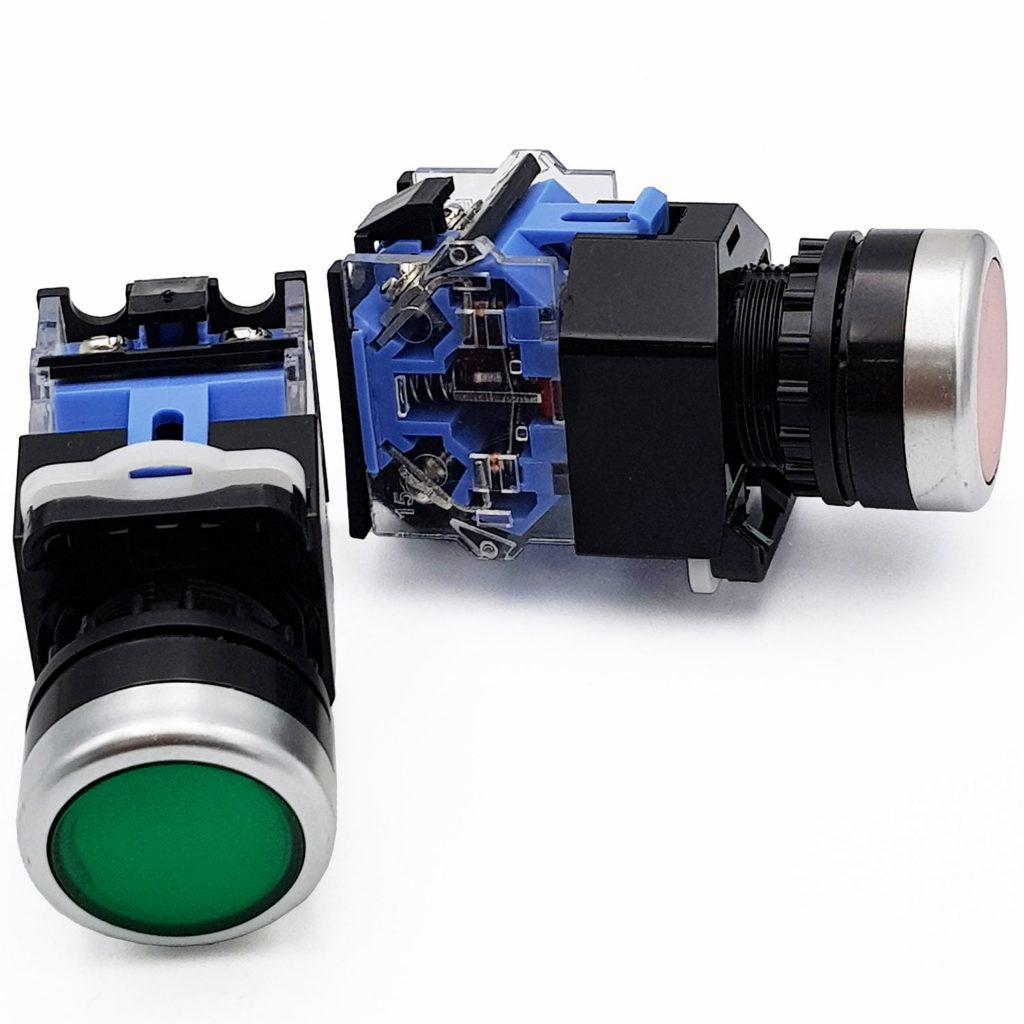 Nút nhấn nhả 2 tiếp điểm LA38-11BN 22mm màu đỏ / xanh