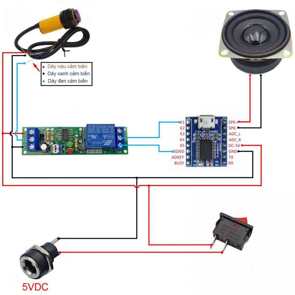 Sơ đồ đấu nối của Combo tự chế bộ phát âm thanh tự động V1